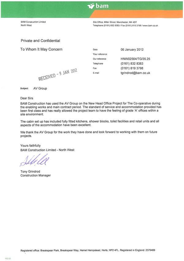 BAM letter